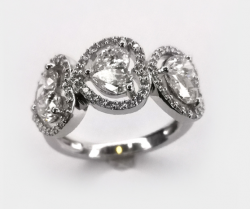 Radiant Trio Illusion Heart Diamond Ring with Halo