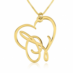 Script Initial Heart Necklace 24k Gold Plated