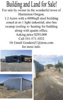 Light Industrial building with land for sale by owner