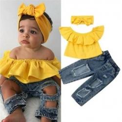 Baby Girl Off Shoulder Ruffles Tops Kids Ripped Holes Denim Pant